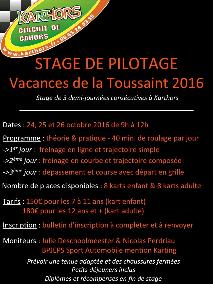 Stage de pilotage aux vacances de la toussaint 2016 actualit s karthors - Vacances de la toussaint 2016 ...